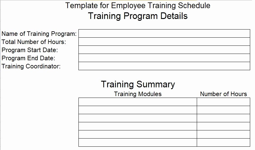 Employee Training Plan Template Luxury Download Employee Training Schedule Template for Pany