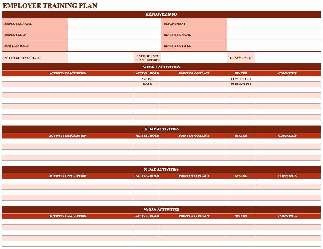 Employee Training Plan Template Word New Employee Training Schedule Template In Ms Excel Excel