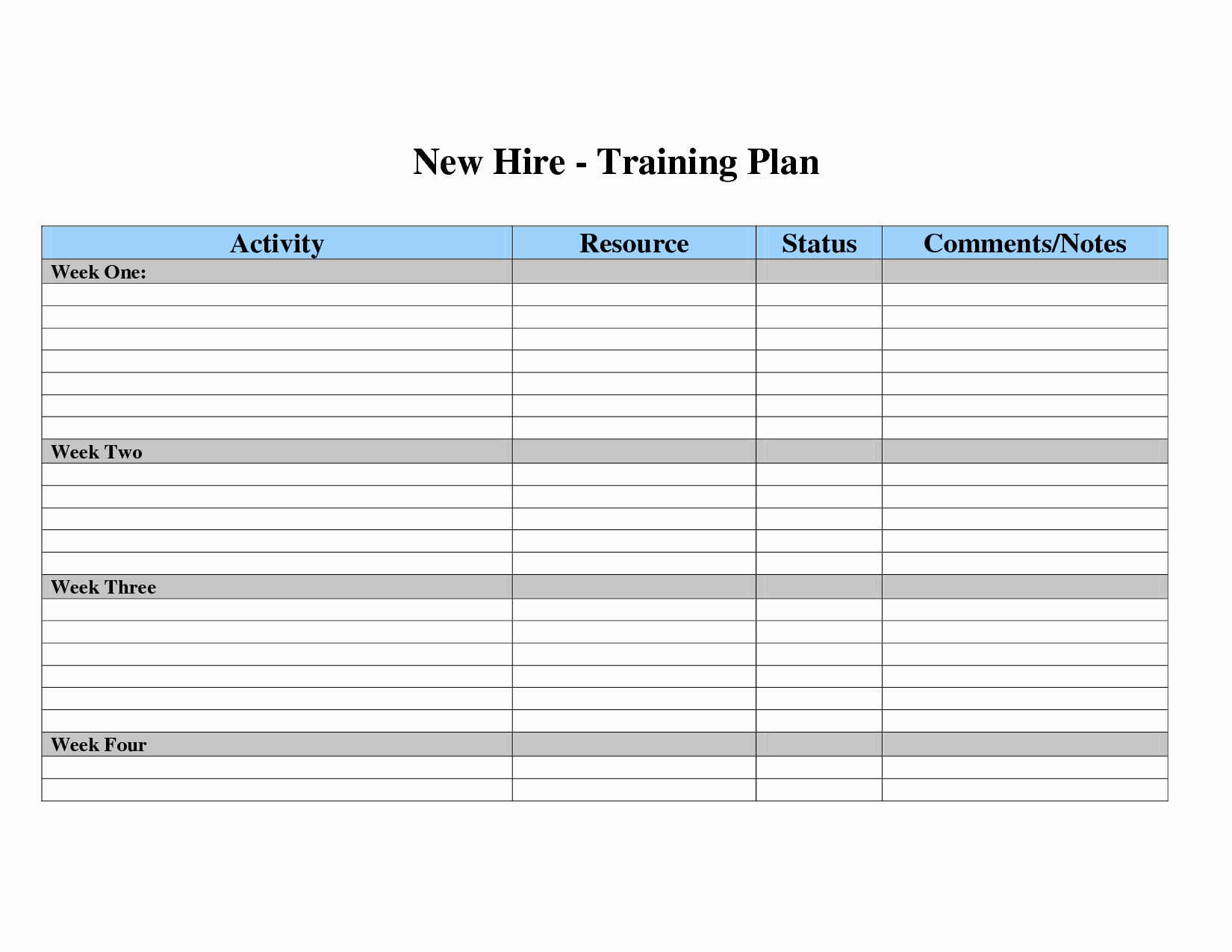 Employee Training Plan Template Word New Training Plan Template