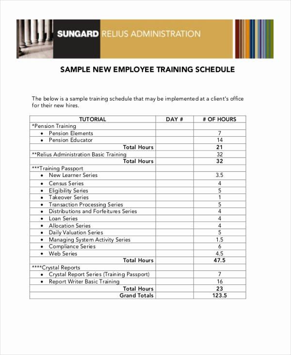 Employee Training Program Template Best Of 14 Employee Training Schedule Template Free Sample