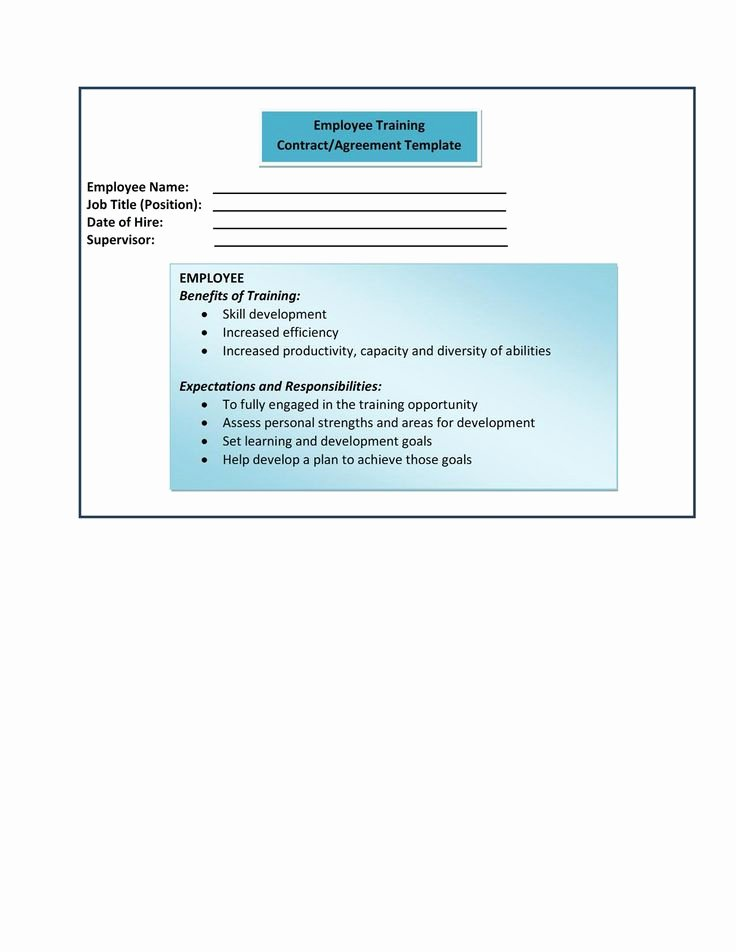 Employee Training Program Template Inspirational form 9 Employee Training Contract Agreement Template