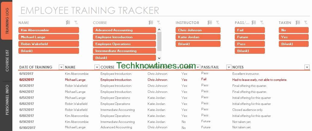 Employee Training Program Template Unique Employee Training Tracker Template Excel
