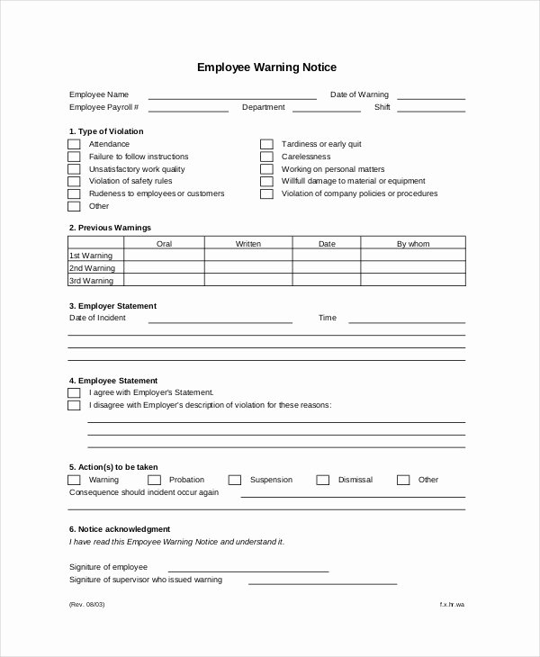 Employee Warning Notice Template Awesome 12 Printable Employee Warning Notice Templates Google