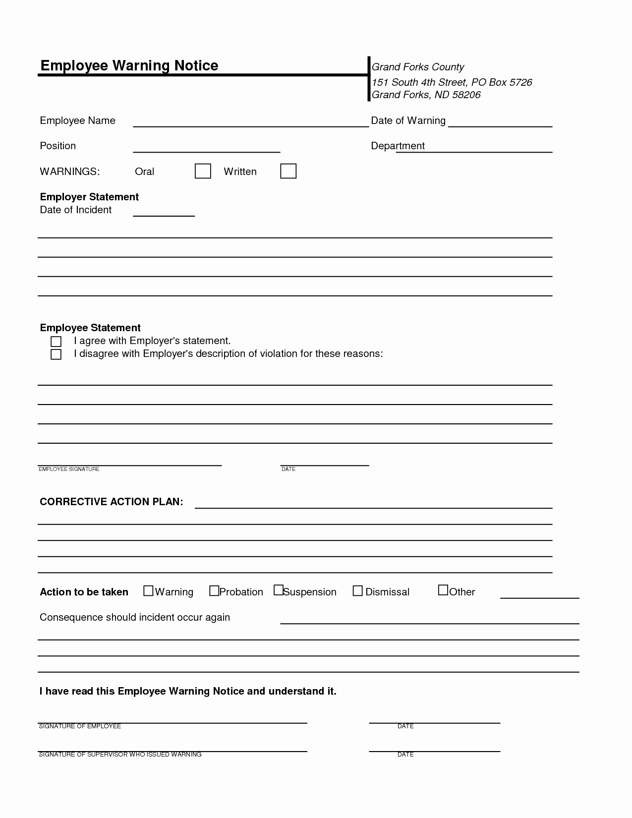 Employee Warning Notice Template Awesome Free Printable Employee Warning Notice