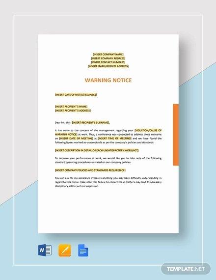 Employee Warning Notice Template Fresh 12 Printable Employee Warning Notice Templates Google