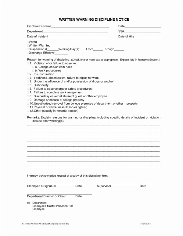 Employee Warning Notice Template Fresh Free 13 Employee Warning Notice Samples & Templates In