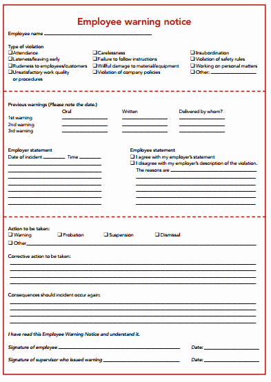Employee Warning Notice Template Lovely Various Templates