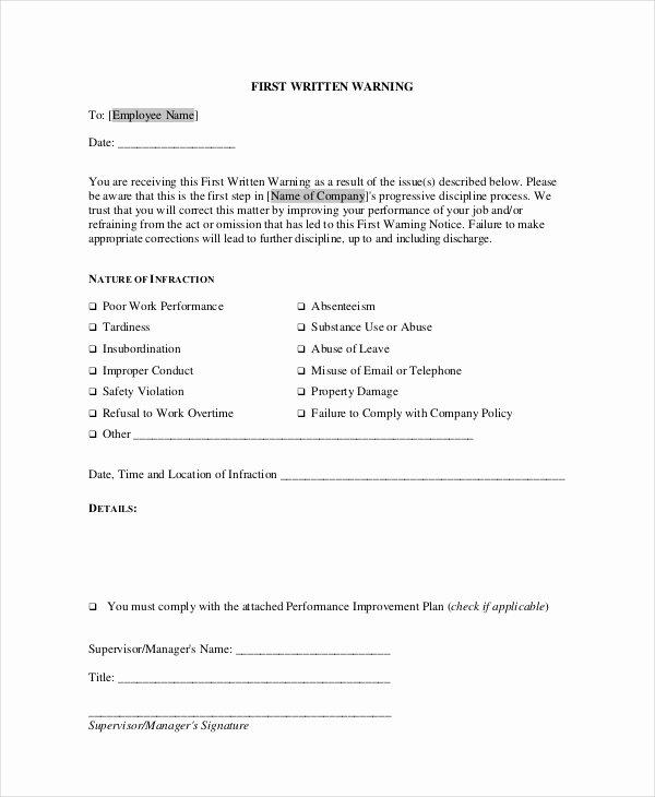Employee Warning Notice Template Luxury 12 Printable Employee Warning Notice Templates Google
