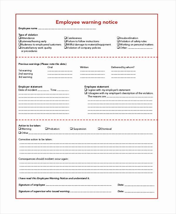 Employee Warning Notice Template Luxury Employee Warning Notice