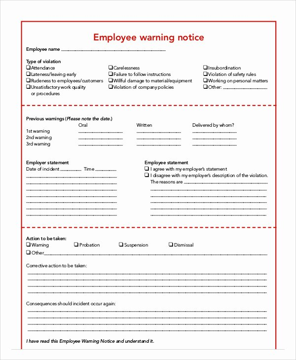 Employee Warning Notice Template Word Elegant 7 Employee Warning Notice Templates Pdf Google Docs