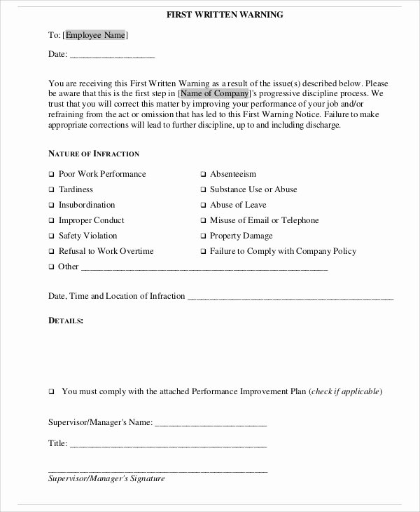 Employee Warning Notice Template Word Fresh 7 Employee Warning Notice Templates Pdf Google Docs