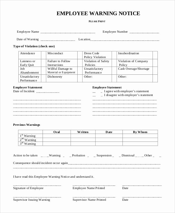 Employee Warning Notice Template Word Luxury 10 Employee Warning Notice Samples Google Docs Ms Word