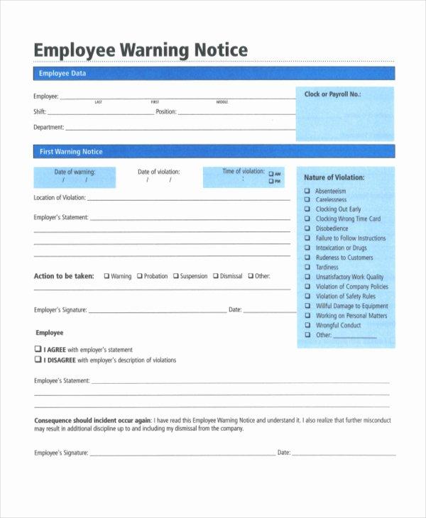 Employee Written Warning Template Free Fresh Employee Reprimand form