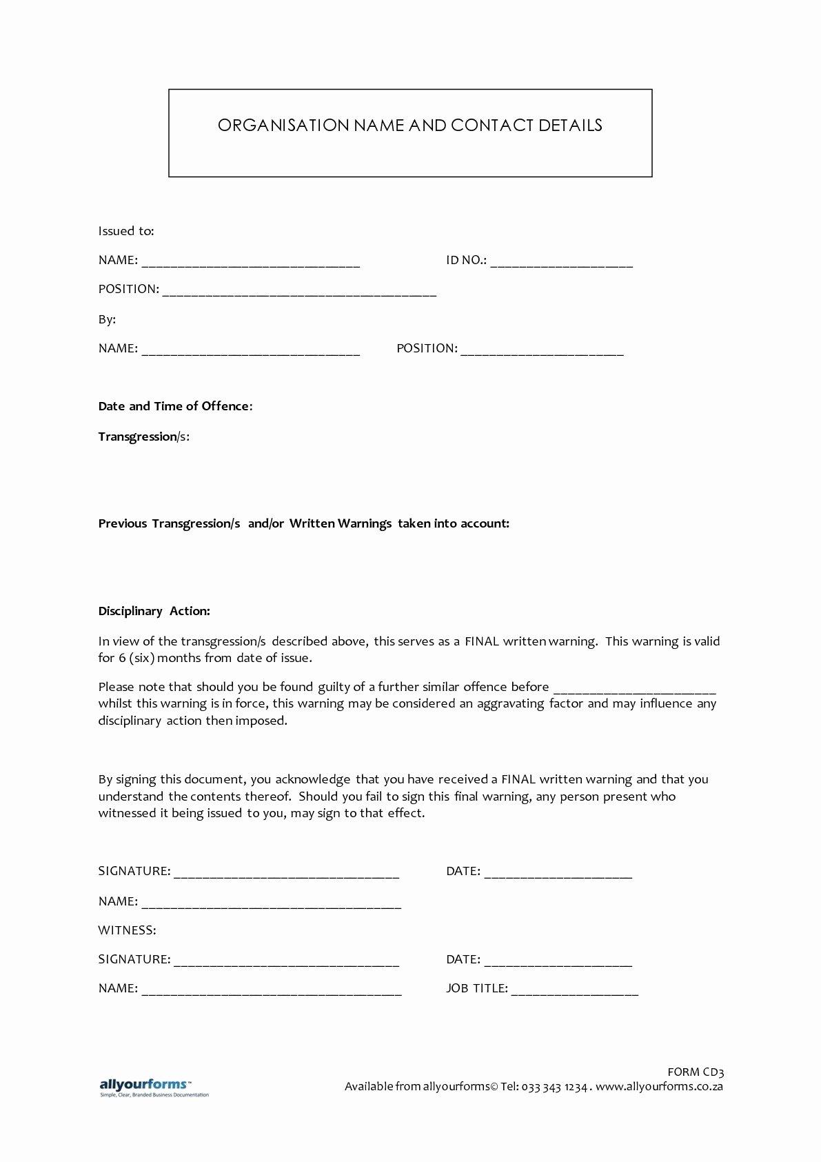 Employee Written Warning Template Free Inspirational Final Written Warning Letter to Employee