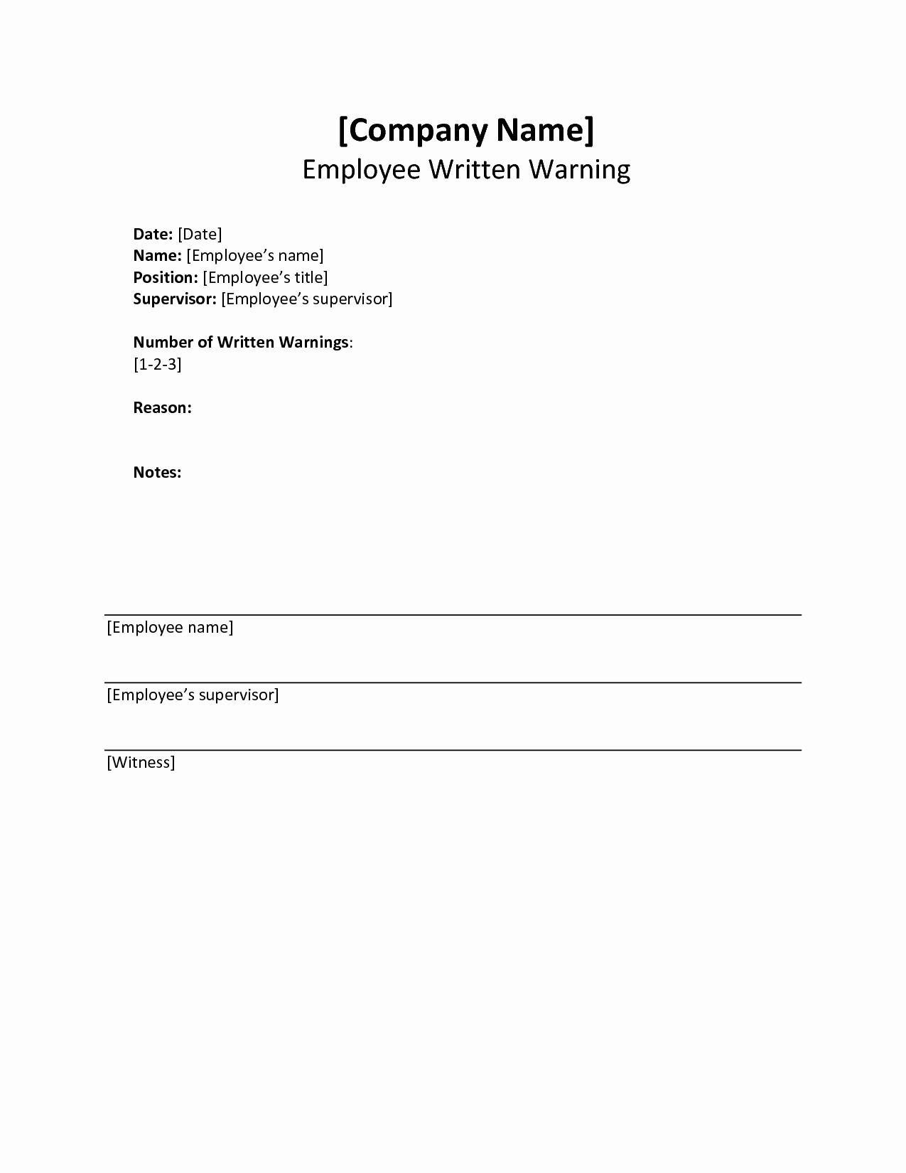 Employee Written Warning Template Free Inspirational Written Warning Template