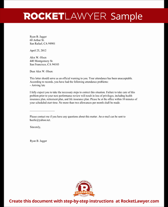 Employee Written Warning Template Fresh Employee Warning Letter Warning Letter to Employee with