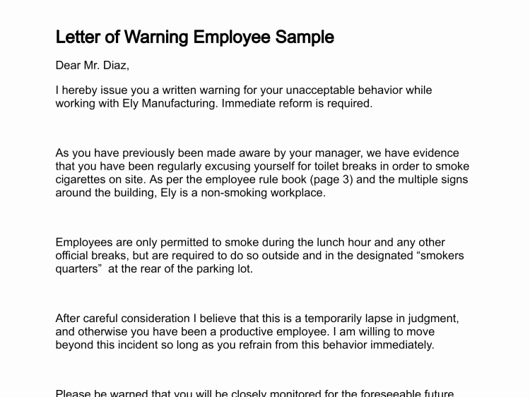 Employee Written Warning Template Fresh Letter Of Warning