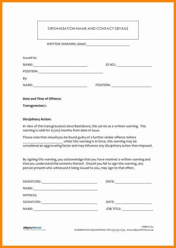 Employee Written Warning Template Inspirational Employee Disciplinary Action form