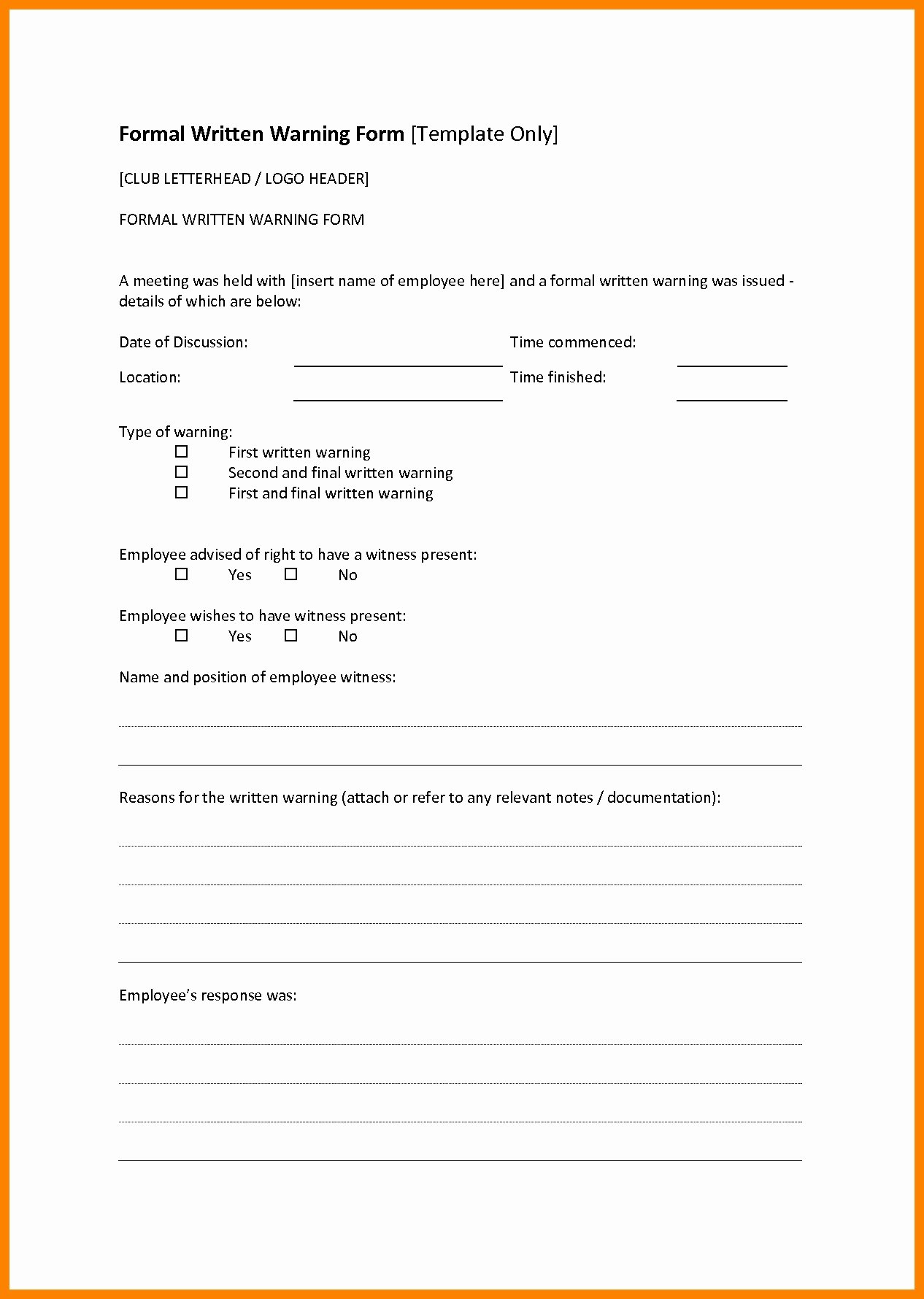 Employee Written Warning Template Inspirational formal Written Warning Employee Template