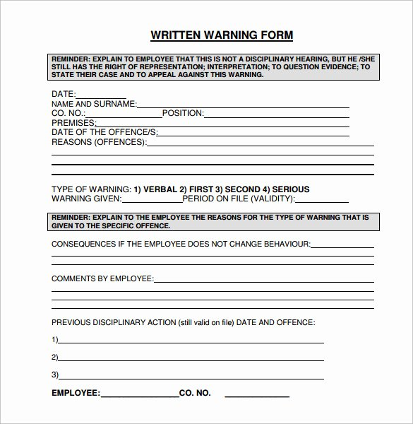 Employee Written Warning Template Lovely 11 Written Warning Templates Pdf