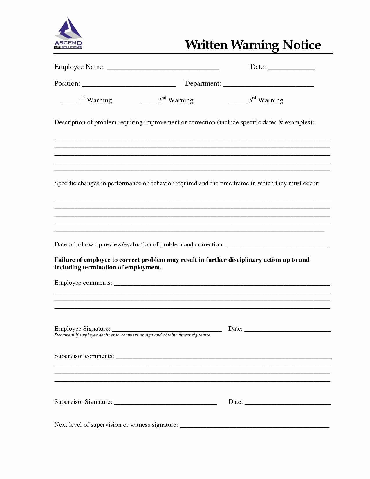 Employee Written Warning Template Lovely Employee Written Warning – Printable Year Calendar
