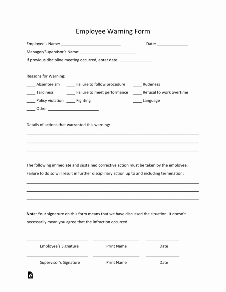 Employee Written Warning Template Lovely Free Employee Warning Notice Template Pdf
