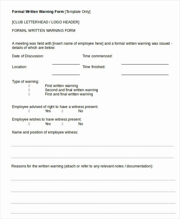 Employee Written Warning Template New 17 Printable Written Warning Templates Pdf Google Docs