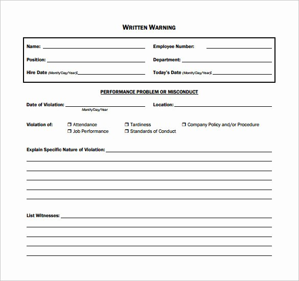 Employee Written Warning Template Unique 11 Written Warning Templates Pdf