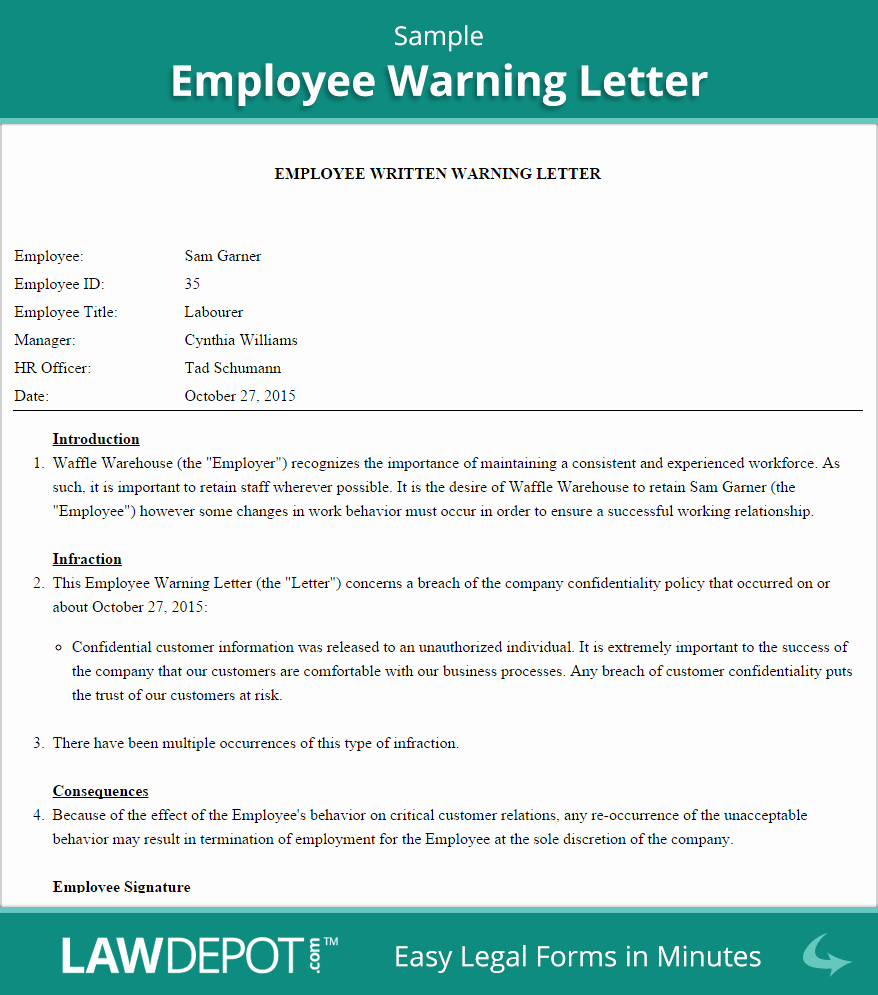 Employee Written Warning Template Unique Employee Warning Letter Template Us
