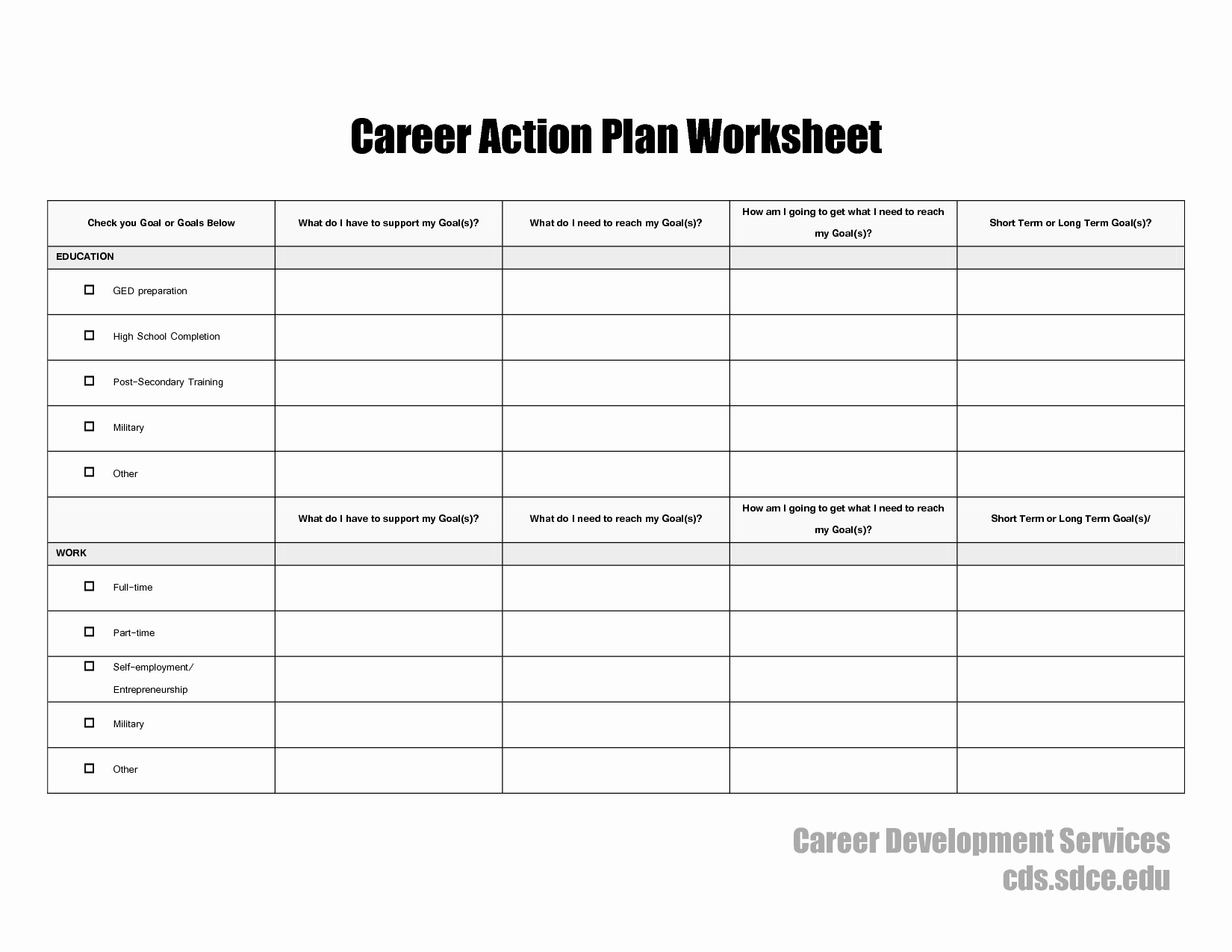 Employment Action Plan Template Beautiful 17 Best Of Career Planning In College Psychology