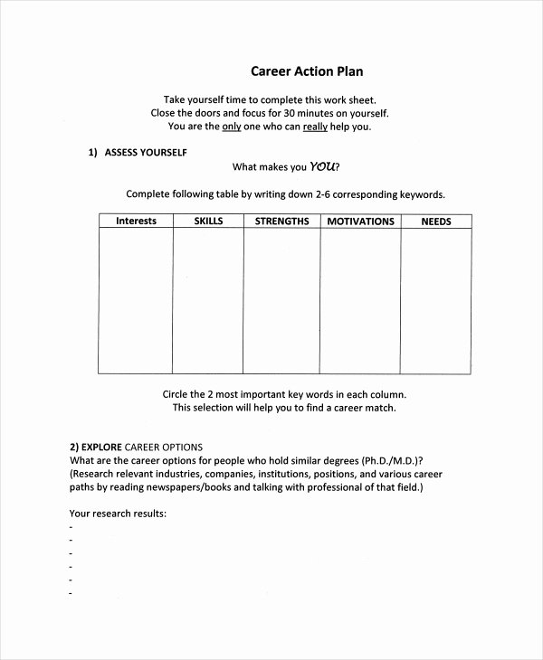 Employment Action Plan Template Beautiful Career Action Plan Template 15 Free Sample Example