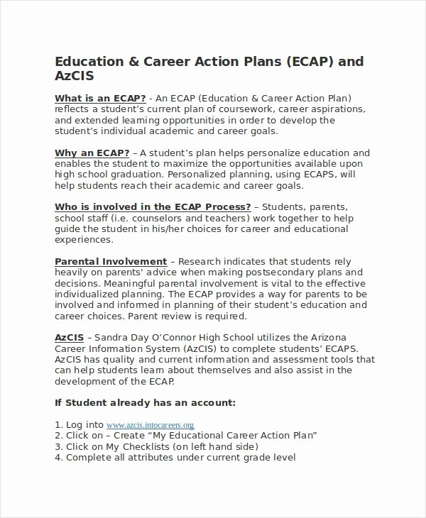 Employment Action Plan Template Elegant Career Action Plan Template 14 Free Sample Example
