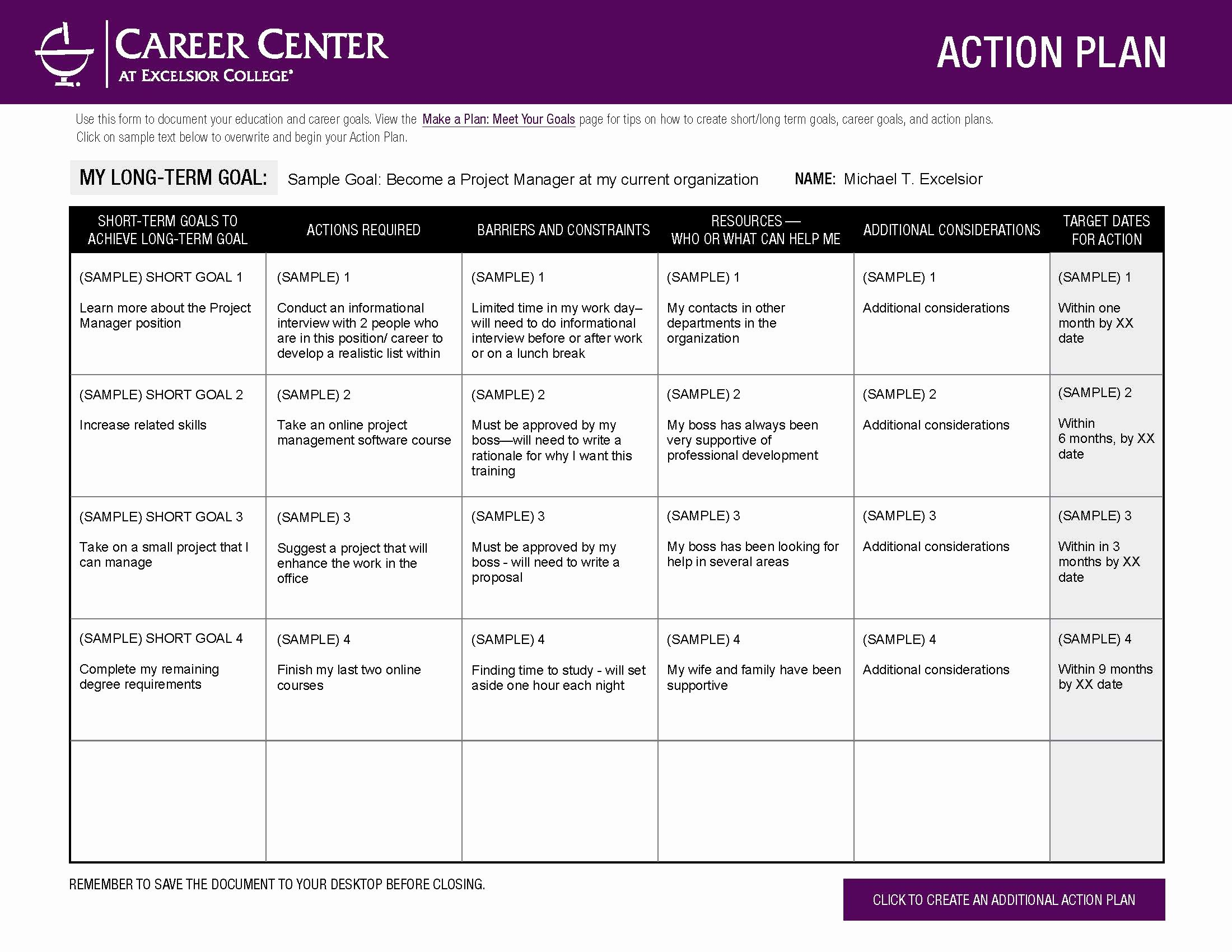 Employment Action Plan Template Lovely Excelsior College Make A Plan – Meet Your Goals