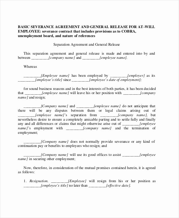 Employment Separation Agreement Template Fresh Sample Employment Contract forms 11 Free Documents In