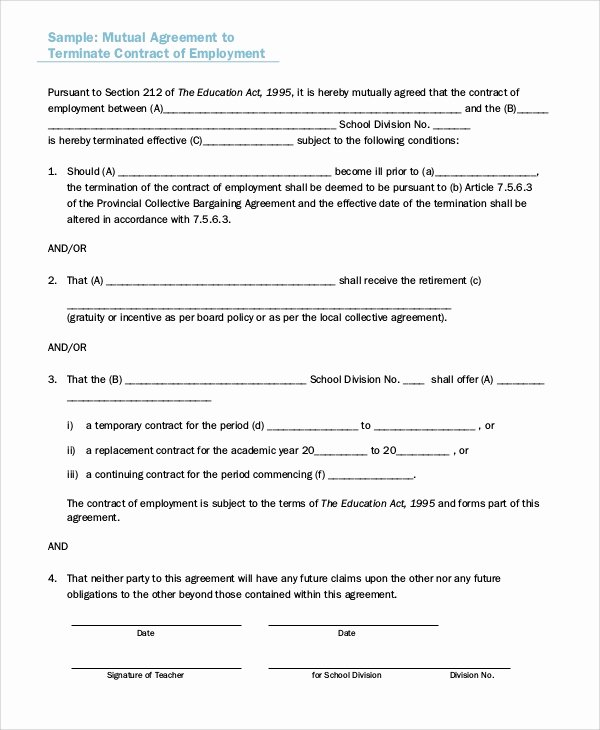 Employment Separation Agreement Template Fresh Sample Employment Separation Agreement 8 Documents In