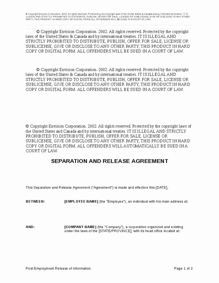 Employment Separation Agreement Template Inspirational Employment Separation Agreement Sample Regular Employee