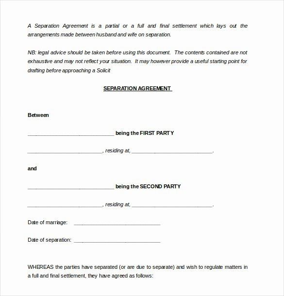 Employment Separation Agreement Template Luxury Seperation Agreement Samples