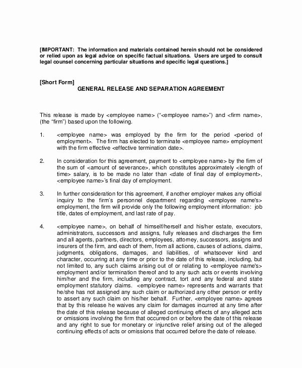 Employment Separation Agreement Template Unique 12 Sample Severance Agreement Templates Pdf Docs