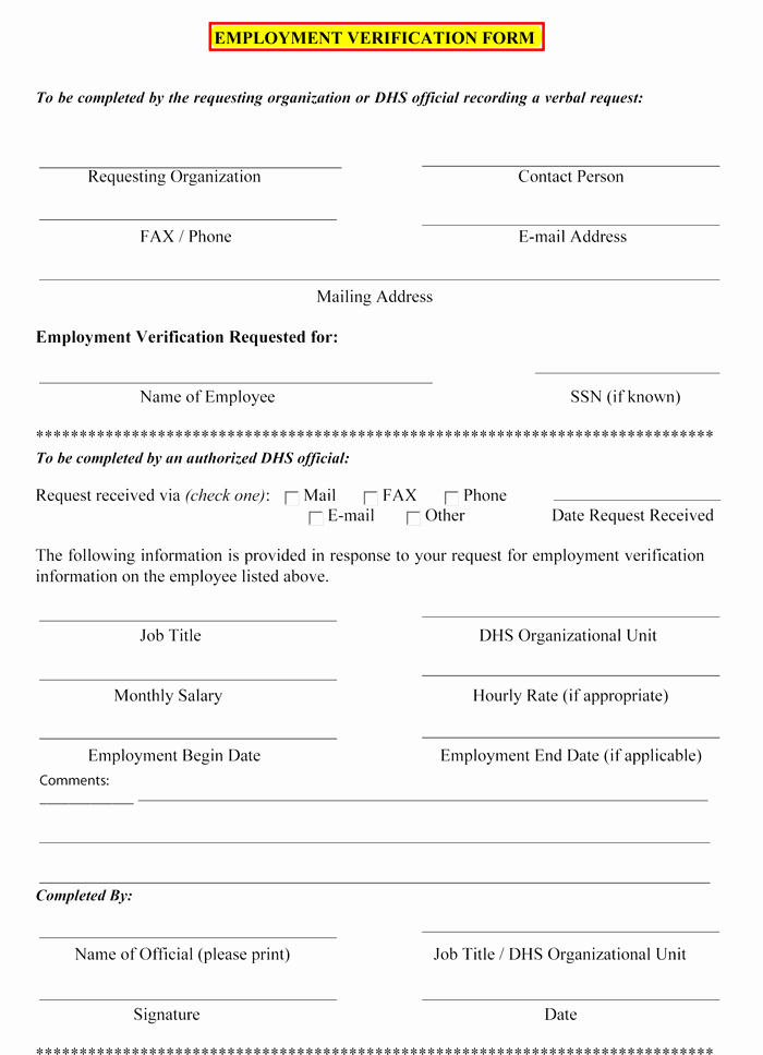 Employment Verification form Template Awesome 5 Employment Verification form Templates to Hire Best Employee