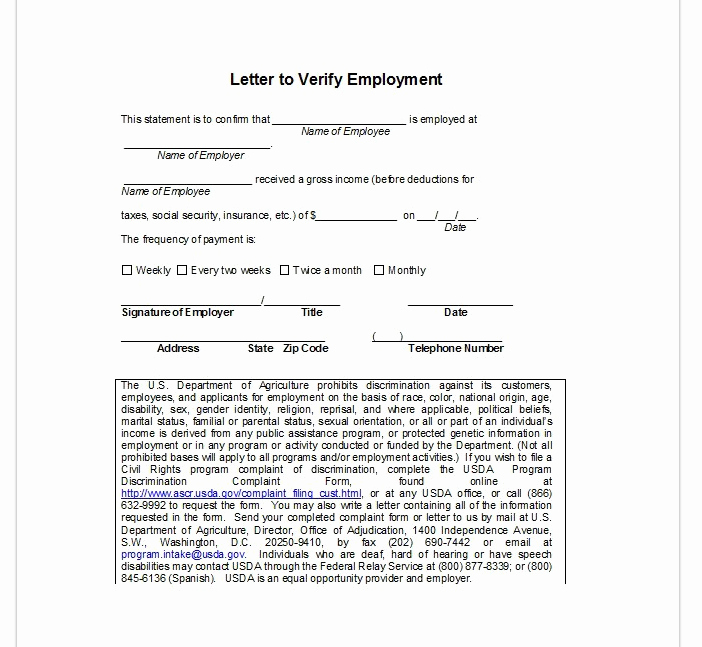 Employment Verification form Template Awesome Employment Verification Letter top form Templates
