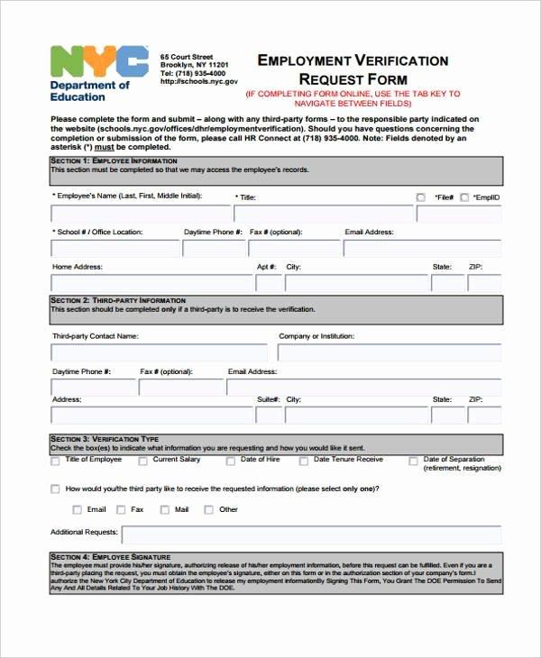 Employment Verification form Template Beautiful Employment form Templates