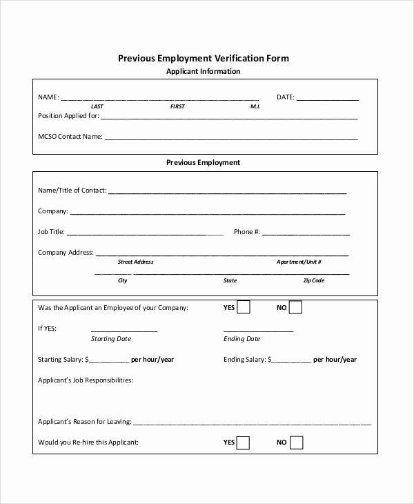 Employment Verification form Template Beautiful Verification form