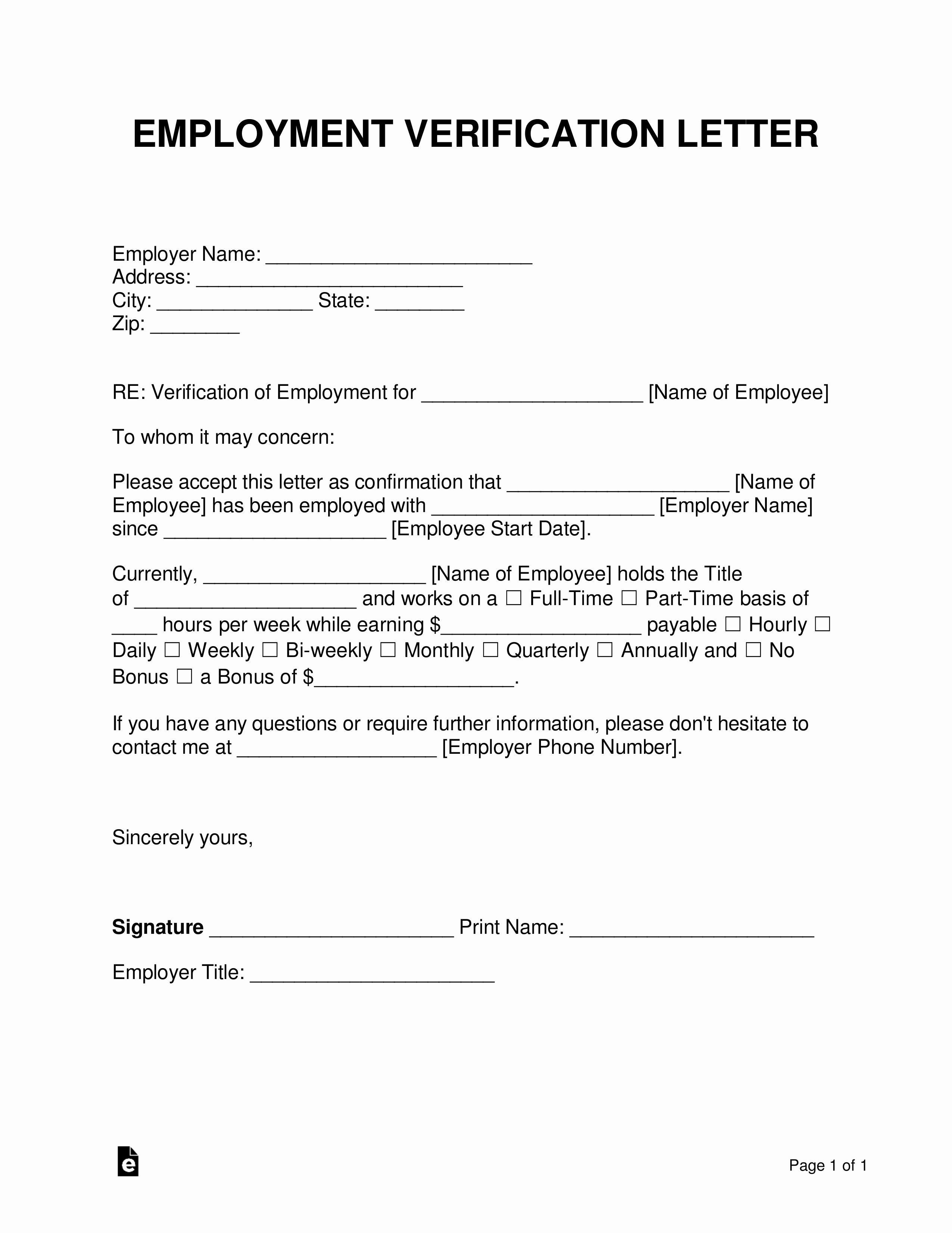 Employment Verification form Template Elegant Free Employment In E Verification Letter Pdf