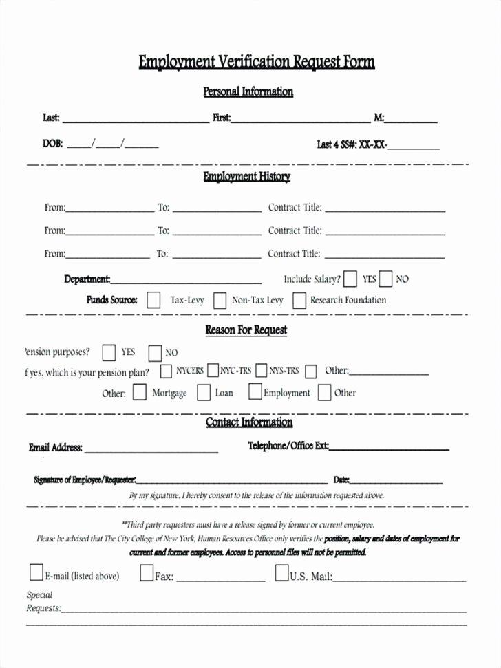 Employment Verification form Template Elegant Work Experience form