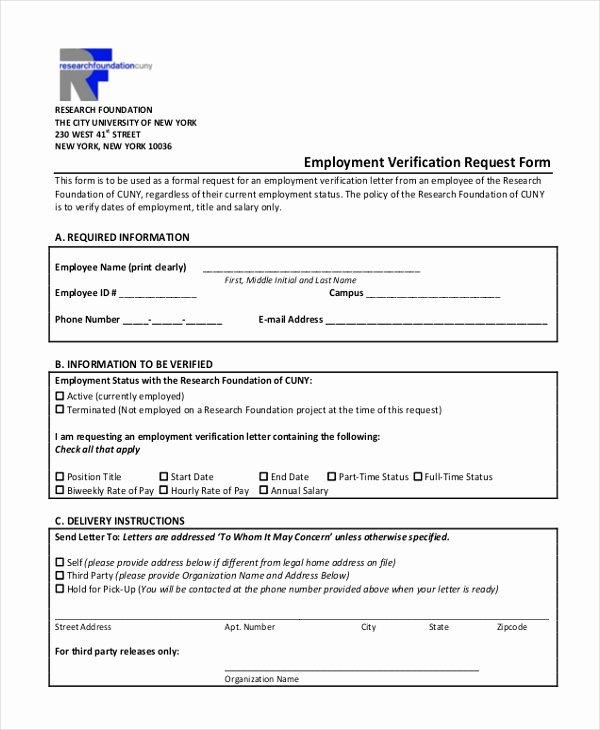 Employment Verification form Template Inspirational Free 13 Sample Employment Verification forms