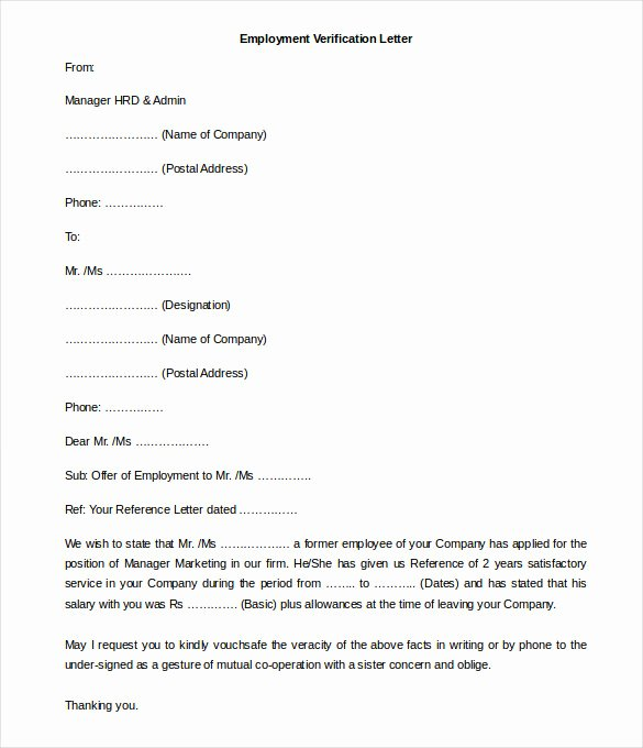 Employment Verification form Template Lovely 11 Free Employment Letter Template Doc Pdf