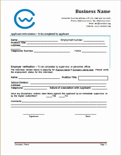 Employment Verification form Template Unique Employment Verification form at Worddox