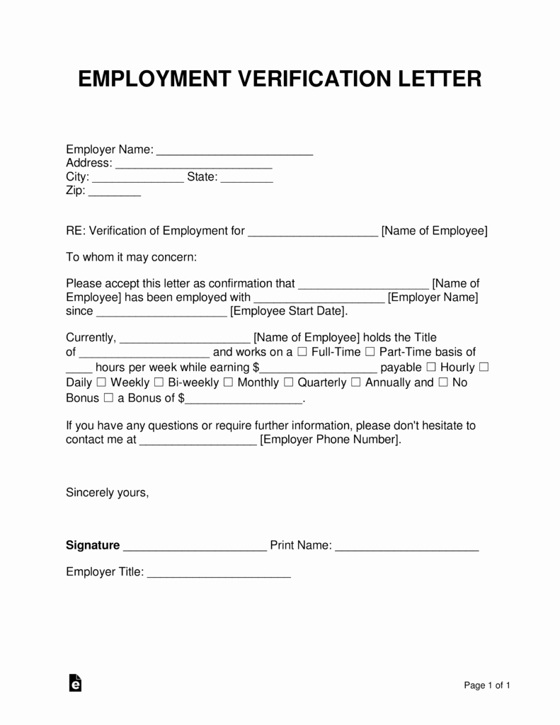 Employment Verification form Template Unique Free Employment In E Verification Letter Pdf