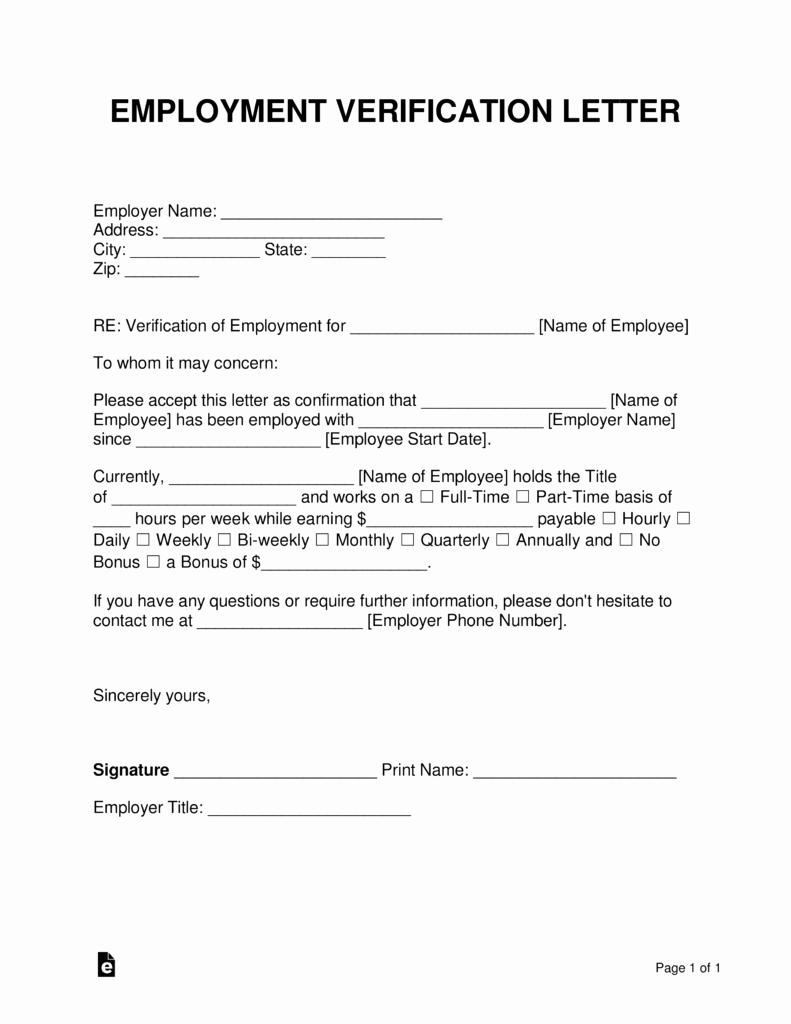 Employment Verification form Template Unique Free Employment In E Verification Letter Pdf