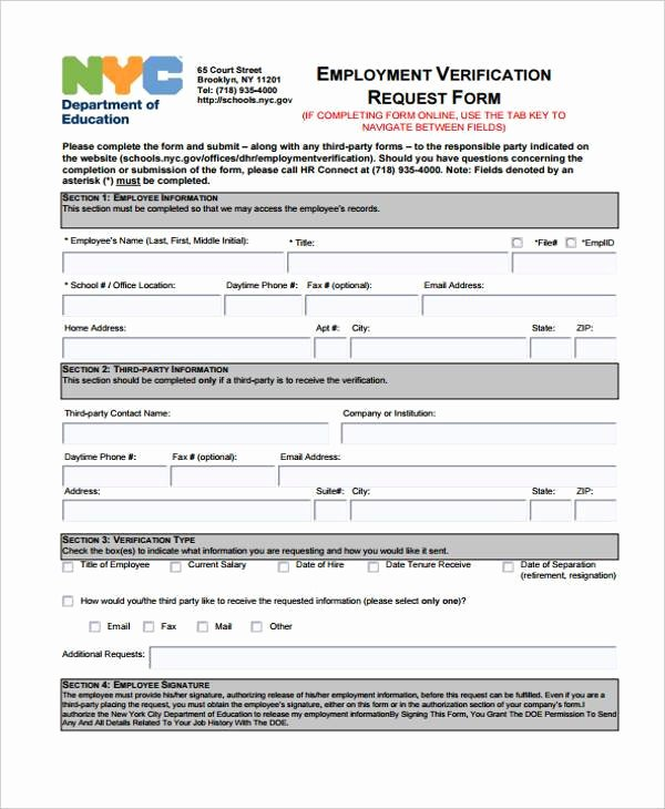 Employment Verification form Templates Awesome Employment form Templates